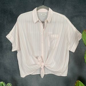 🌵Madewell Short Sleeve Boxy Tie Front Blouse L